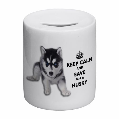 Keep Calm And Save For A Husky Novelty Ceramic Money Box